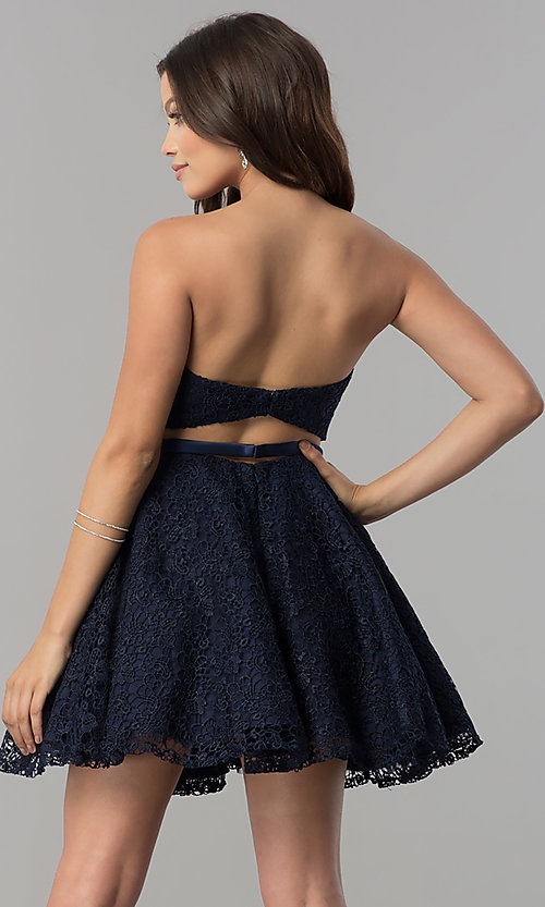 Image of lace strapless short a-line homecoming party dress. Style: AL-3741 Back Image