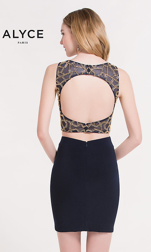 Image of Alyce two-piece short party dress with beaded top. Style: AL-4474 Back Image