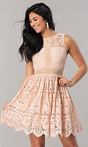 Image of a-line short lace wedding-guest party dress. Style: LP-24388 Detail Image 1