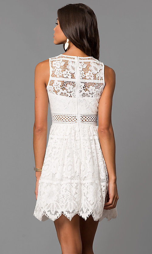 Image of a-line short lace wedding-guest party dress. Style: LP-24388 Back Image