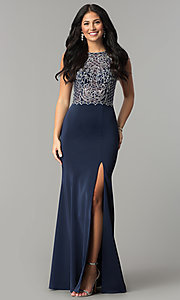 Image of embellished-bodice long sateen formal prom dress. Style: DQ-9964 Detail Image 1