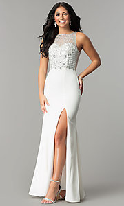 Image of embellished-bodice long sateen formal prom dress. Style: DQ-9964 Detail Image 2