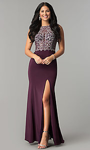 Image of embellished-bodice long sateen formal prom dress. Style: DQ-9964 Detail Image 3