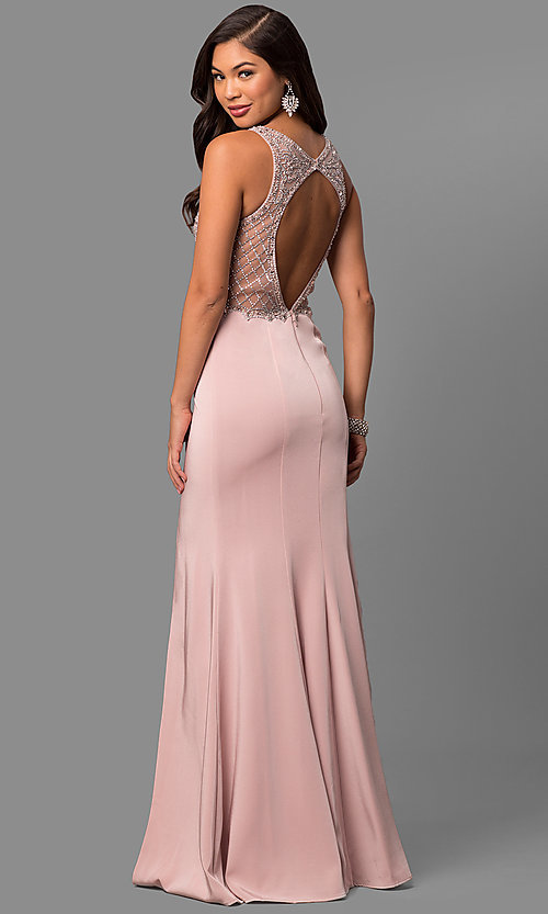 Image of embellished-bodice long sateen formal prom dress. Style: DQ-9964 Back Image