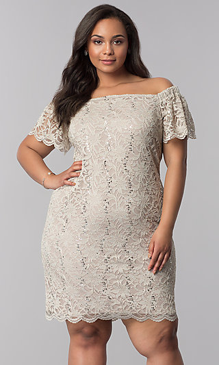 Plus-Size Short Sequin-Lace Graduation Party Dress