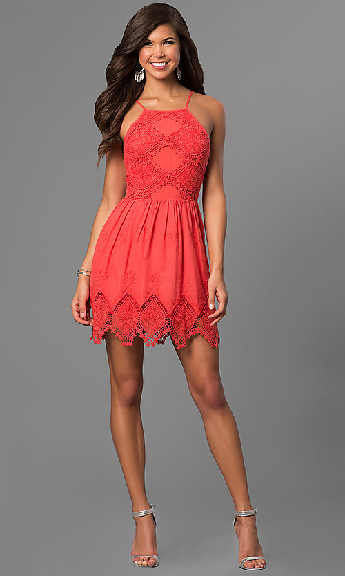 Image of short lace graduation party dress with keyhole back.  Style: VE-865-211032 Detail Image 1