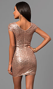 Image of short sequin cap-sleeve holiday party dress. Style: VE-888-213466 Back Image