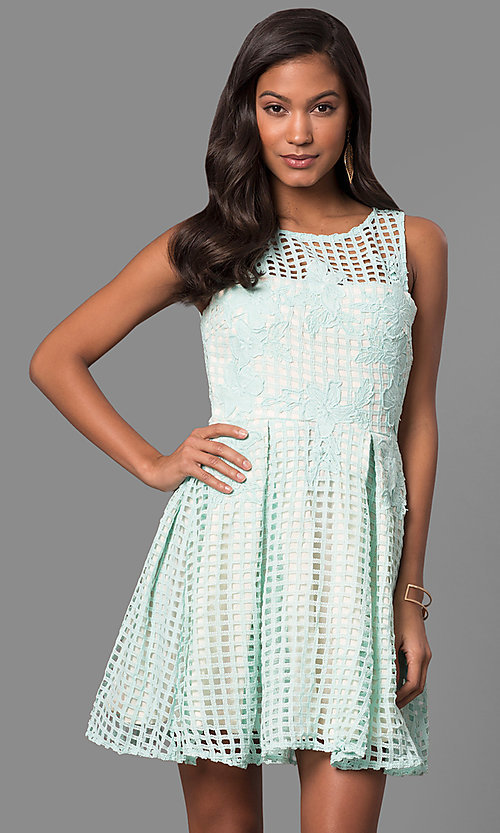 Image of semi-casual short lace a-line party dress. Style: LP-24290 Detail Image 2