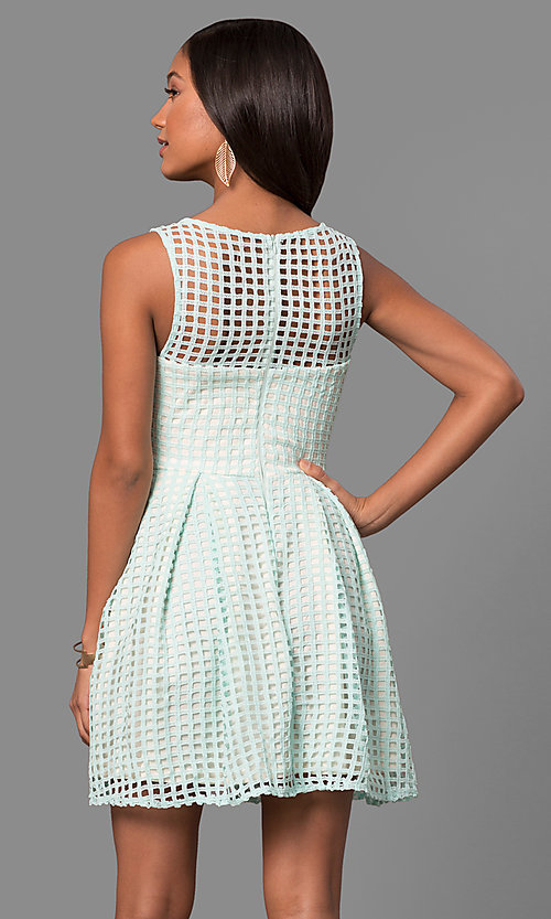 Image of semi-casual short lace a-line party dress. Style: LP-24290 Detail Image 3
