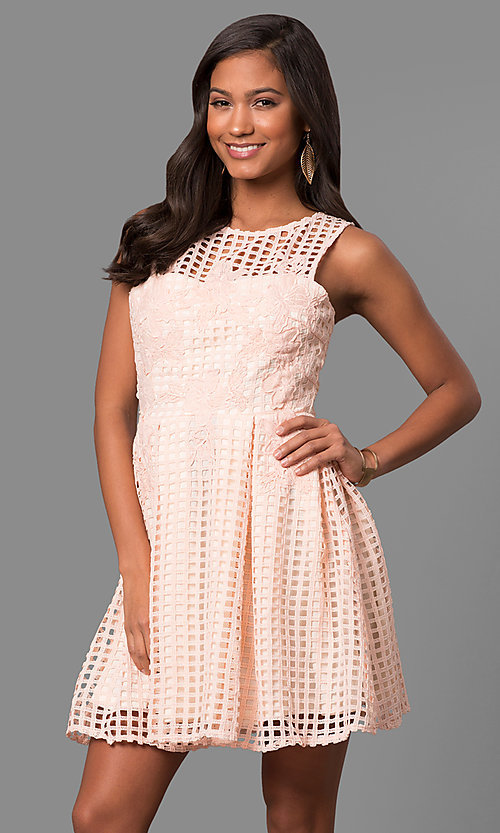 Image of semi-casual short lace a-line party dress. Style: LP-24290 Front Image