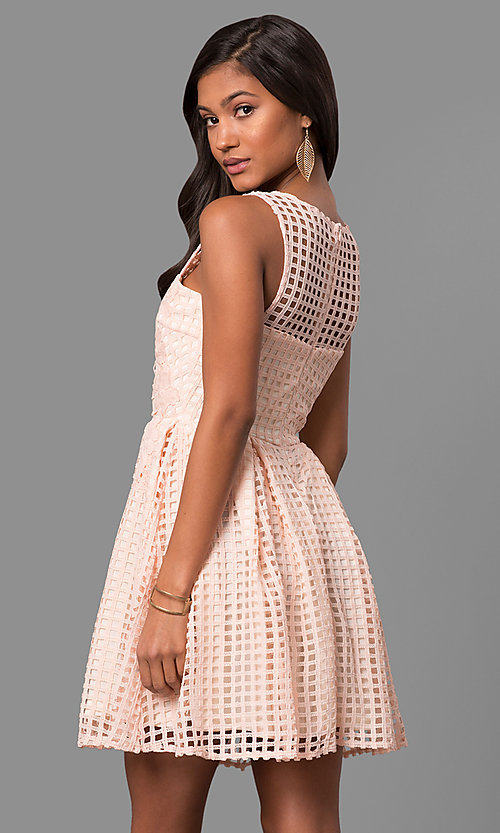 Image of semi-casual short lace a-line party dress. Style: LP-24290 Back Image