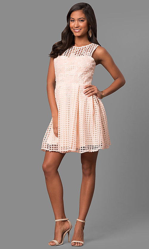 Image of semi-casual short lace a-line party dress. Style: LP-24290 Detail Image 1