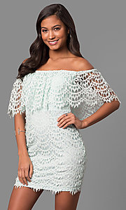 Image of strapless off-the-shoulder short lace party dress. Style: LP-24596 Front Image
