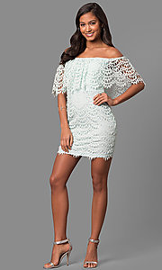 Image of strapless off-the-shoulder short lace party dress. Style: LP-24596 Detail Image 3