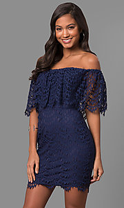 Image of strapless off-the-shoulder short lace party dress. Style: LP-24596 Detail Image 1
