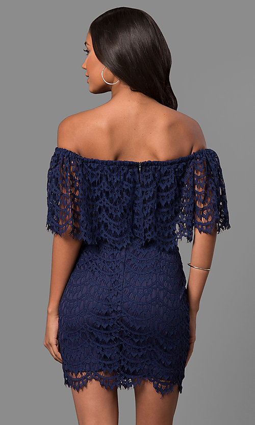 Image of strapless off-the-shoulder short lace party dress. Style: LP-24596 Back Image