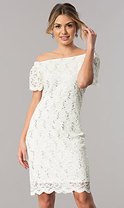 Image of off-the-shoulder short ivory lace party dress. Style: JU-TI-T0041 Front Image