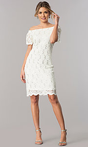 Image of off-the-shoulder short ivory lace party dress. Style: JU-TI-T0041 Detail Image 1