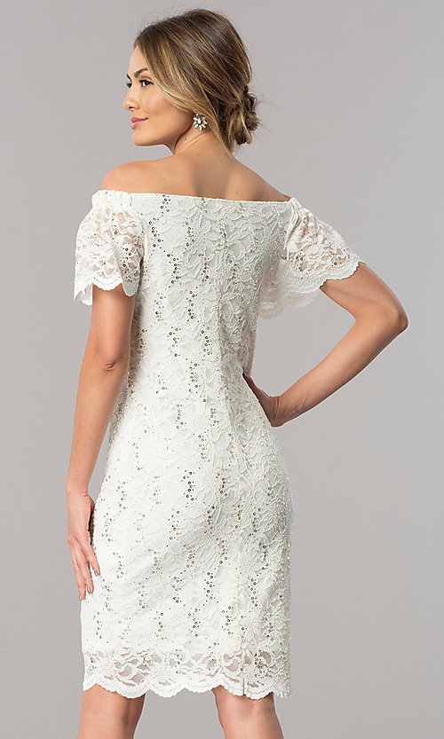 Image of off-the-shoulder short ivory lace party dress. Style: JU-TI-T0041 Back Image
