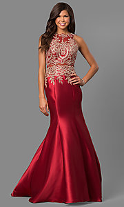 Image of mermaid long formal prom dress with lace embroidery. Style: LAD-JC-CD8934 Front Image