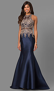 Image of mermaid long formal prom dress with lace embroidery. Style: LAD-JC-CD8934 Detail Image 2