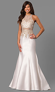 Image of mermaid long formal prom dress with lace embroidery. Style: LAD-JC-CD8934 Detail Image 3