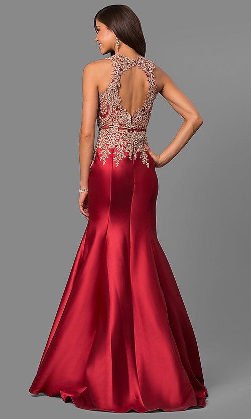 Image of mermaid long formal prom dress with lace embroidery. Style: LAD-JC-CD8934 Back Image
