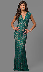 Image of rhinestone illusion-v-neck formal long lace dress. Style: LAD-JC-RM1418 Detail Image 3