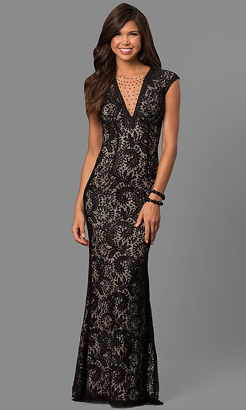 Image of rhinestone illusion-v-neck formal long lace dress. Style: LAD-JC-RM1418 Detail Image 1