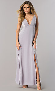 Image of low v-neck long lavender wedding guest dress.  Style: AC-DA23492E Front Image