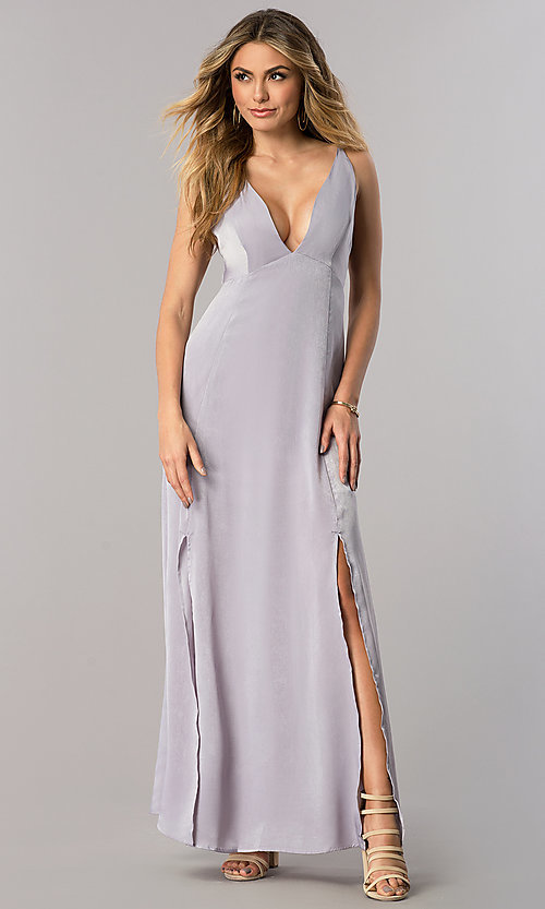 Image Of Low V Neck Long Lavender Wedding Guest Dress Style Ac