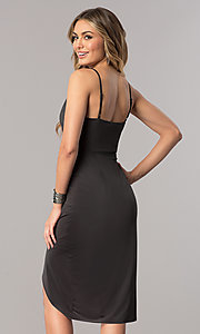 Image of charcoal mock-wrap short wedding-guest party dress.  Style: AC-DA23518R Back Image