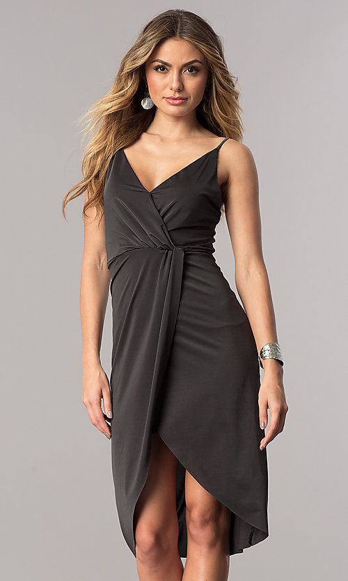Image of charcoal mock-wrap short wedding-guest party dress.  Style: AC-DA23518R Front Image