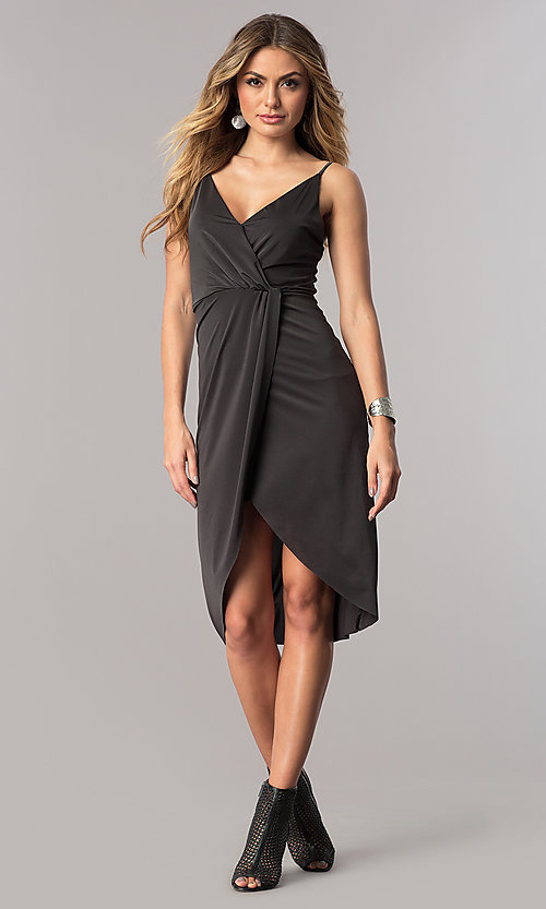 Image of charcoal mock-wrap short wedding-guest party dress.  Style: AC-DA23518R Detail Image 1