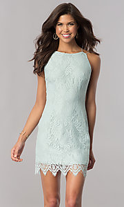 Image of sage green short lace wedding-guest party dress. Style: AC-DA23576B Front Image