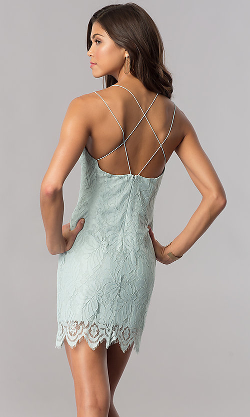 Image of sage green short lace wedding-guest party dress. Style: AC-DA23576B Back Image