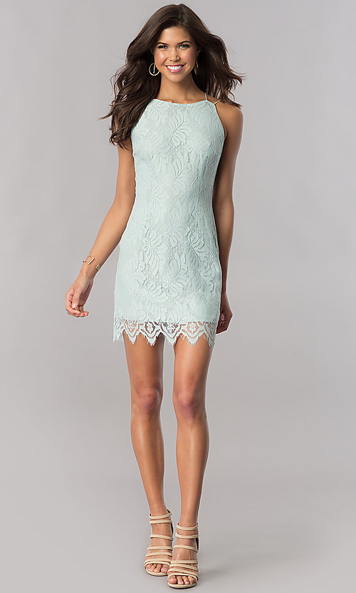 Image of sage green short lace wedding-guest party dress. Style: AC-DA23576B Detail Image 1