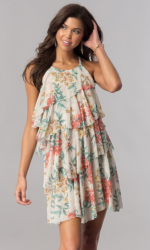 Image of multi-tiered short floral-print casual cruise dress. Style: AC-DSE23664W Front Image