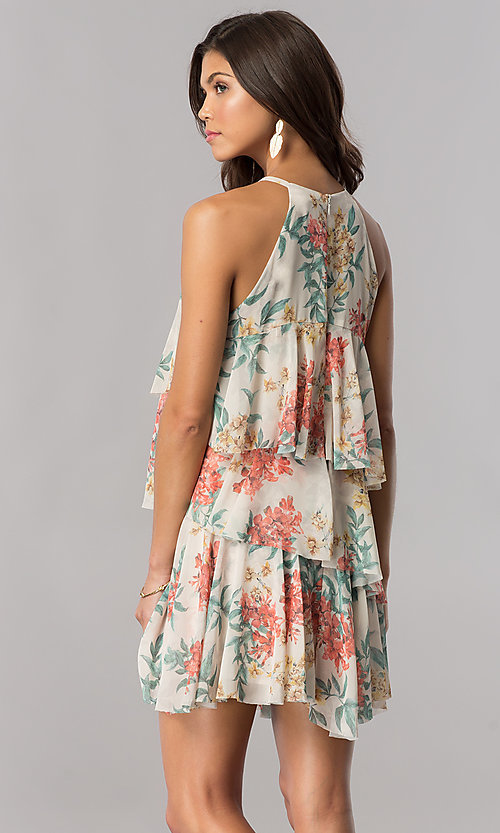 Image of multi-tiered short floral-print casual cruise dress. Style: AC-DSE23664W Back Image