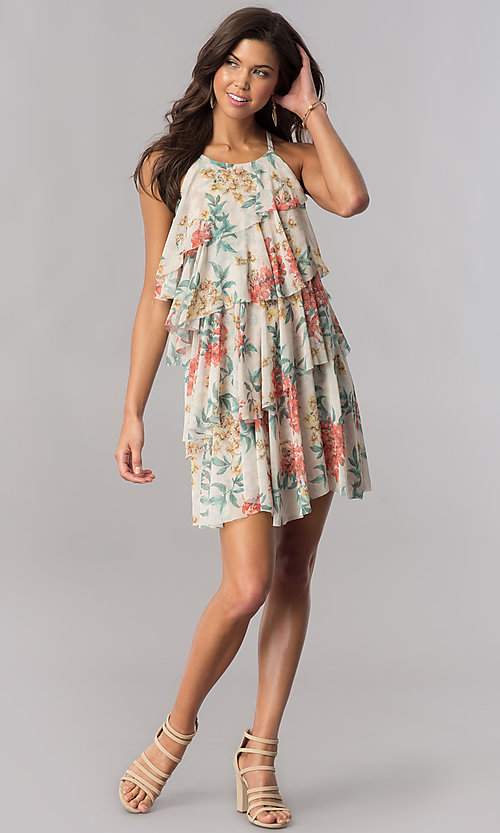 Image of multi-tiered short floral-print casual cruise dress. Style: AC-DSE23664W Detail Image 1