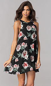 Image of floral-print short black casual shift party dress. Style: AC-DS23573V Front Image