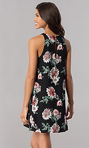 Image of floral-print short black casual shift party dress. Style: AC-DS23573V Back Image