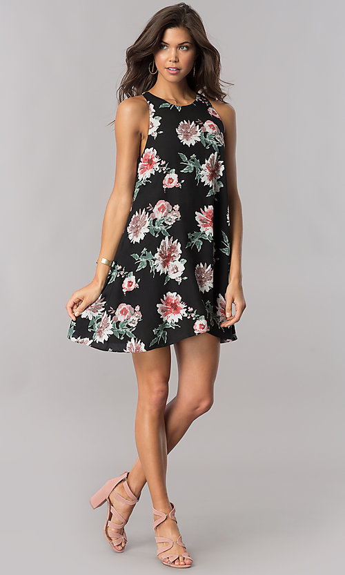 Image of floral-print short black casual shift party dress. Style: AC-DS23573V Detail Image 1