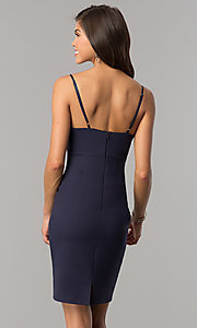 Image of indigo blue empire-waist short v-neck party dress. Style: AC-DA23643W Back Image