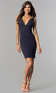 Image of indigo blue empire-waist short v-neck party dress. Style: AC-DA23643W Detail Image 1