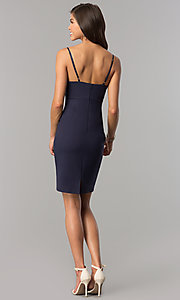 Image of indigo blue empire-waist short v-neck party dress. Style: AC-DA23643W Detail Image 2