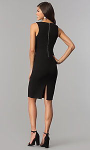 Image of short black cocktail party dress with low v-neck. Style: AC-DE22784R Detail Image 2