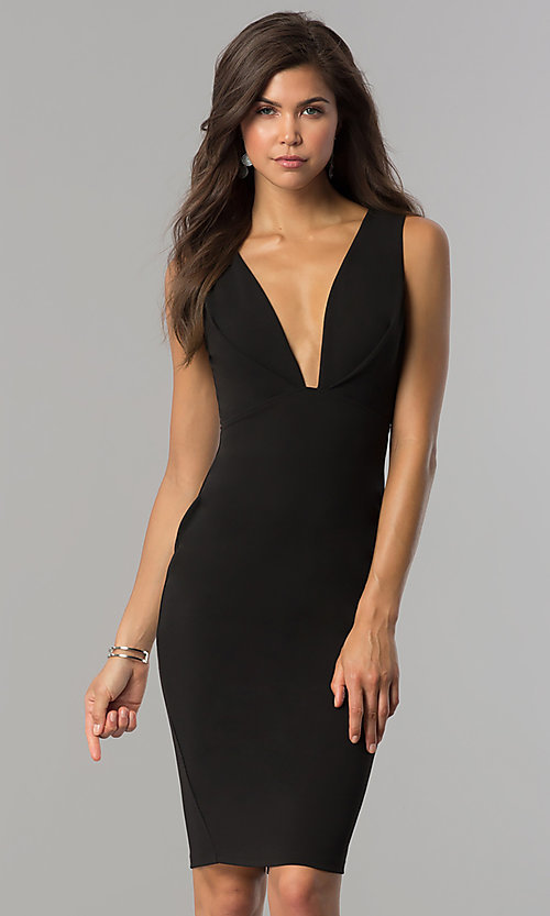 Image of short black cocktail party dress with low v-neck. Style: AC-DE22784R Front Image