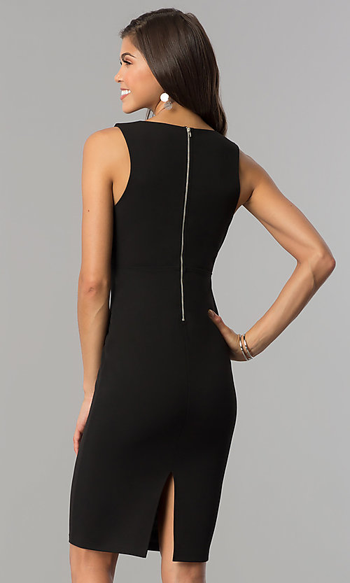 Image of short black cocktail party dress with low v-neck. Style: AC-DE22784R Back Image