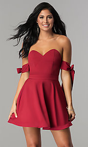 Image of off-the-shoulder short graduation party dress.  Style: LUX-LD3819 Front Image